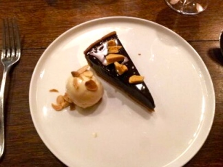 Dark Chocolate Tart and Salted Almond Ice Cream