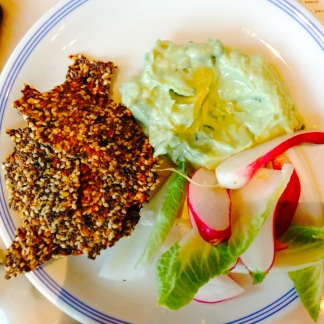 Whipped avocado, tofu & wasabi, served with breakfast radishes, seeded chia and dulse crackers